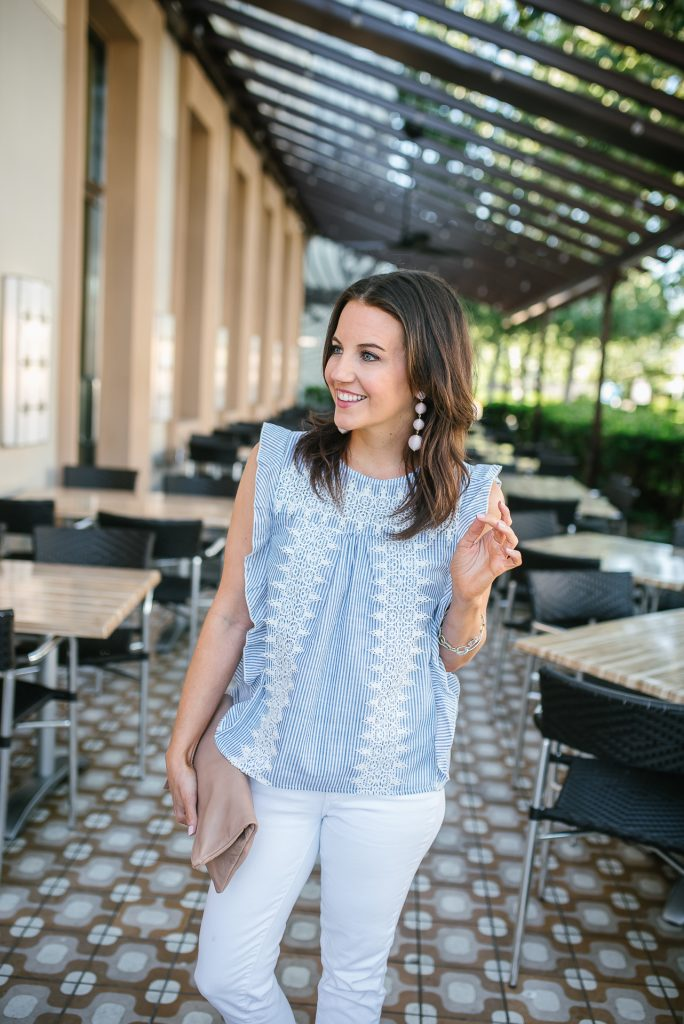 summer outfit | blue striped ruffle top | white jeans | Houston Fashion Blogger Lady in Violet