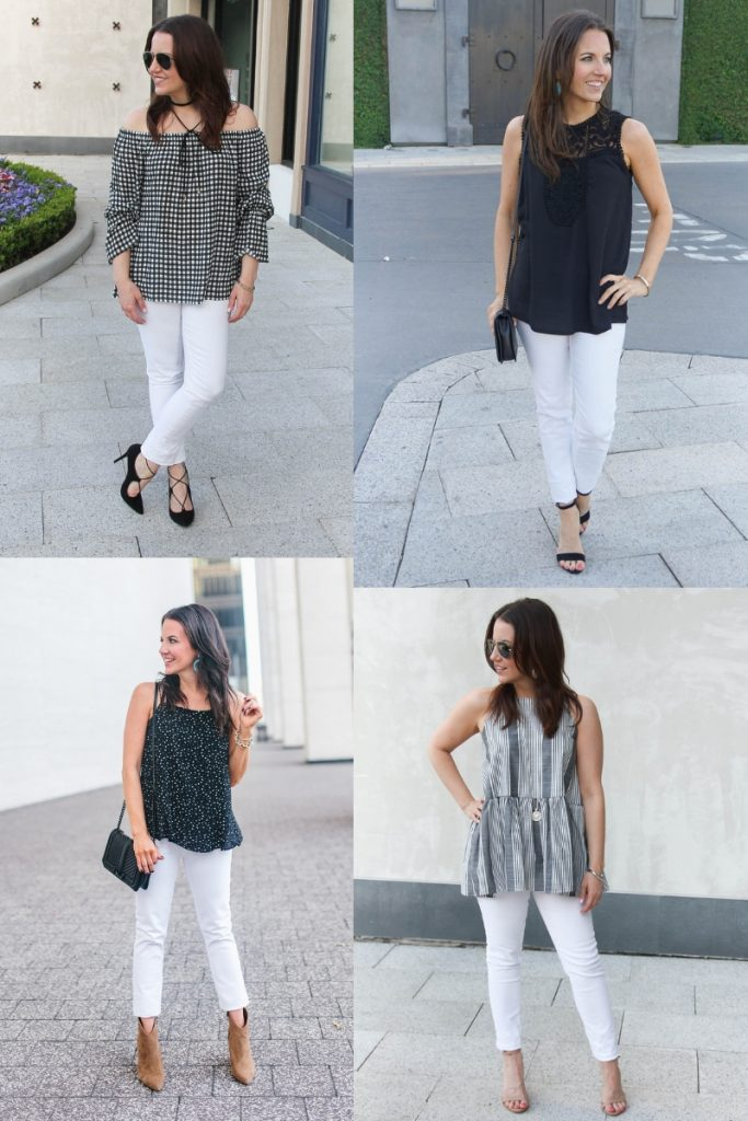 black and gray outfits with white jeans | Houston Fashion Blogger Lady in Violet