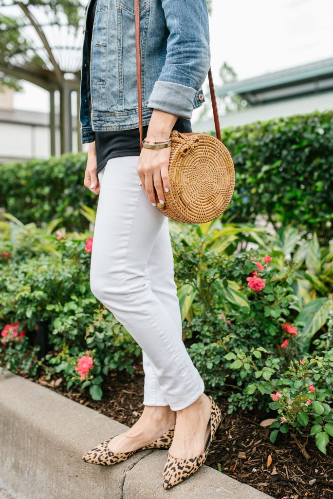Spring outfit | white jeans | leopard print flats | Petite Fashion Blogger Lady in Violet