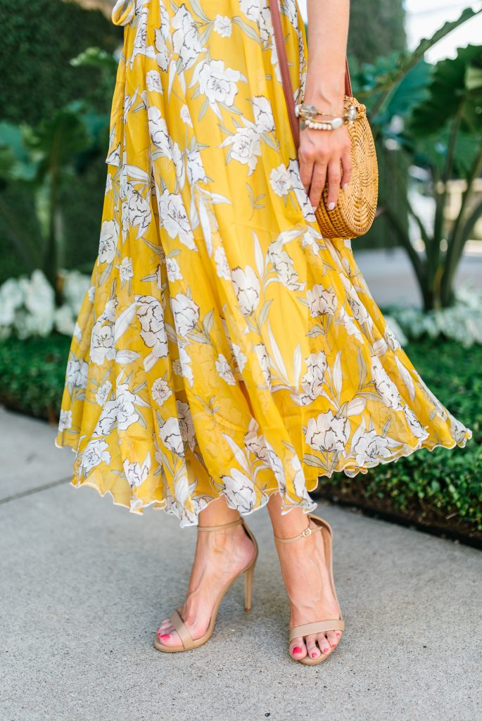 summer outfit | long yellow dress | nude colored heels | Petite Fashion Blogger Lady in Violet