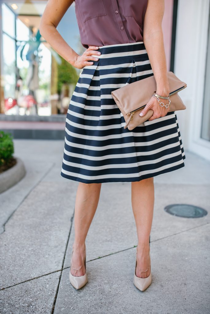 summer work outfit | striped full skirt | nude colored clutch and heels | Petite Fashion Blogger Lady in Violet