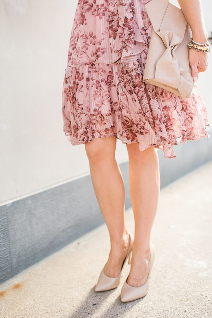 workwear | pink floral print dress | nude colored heels | Petite Fashion Blogger Lady in Violet