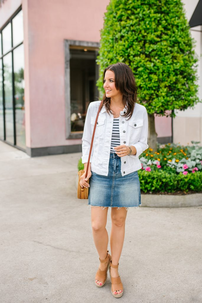 casual outfit | white jean jacket | distressed denim skirt | Houston Fashion Blogger Lady in Violet
