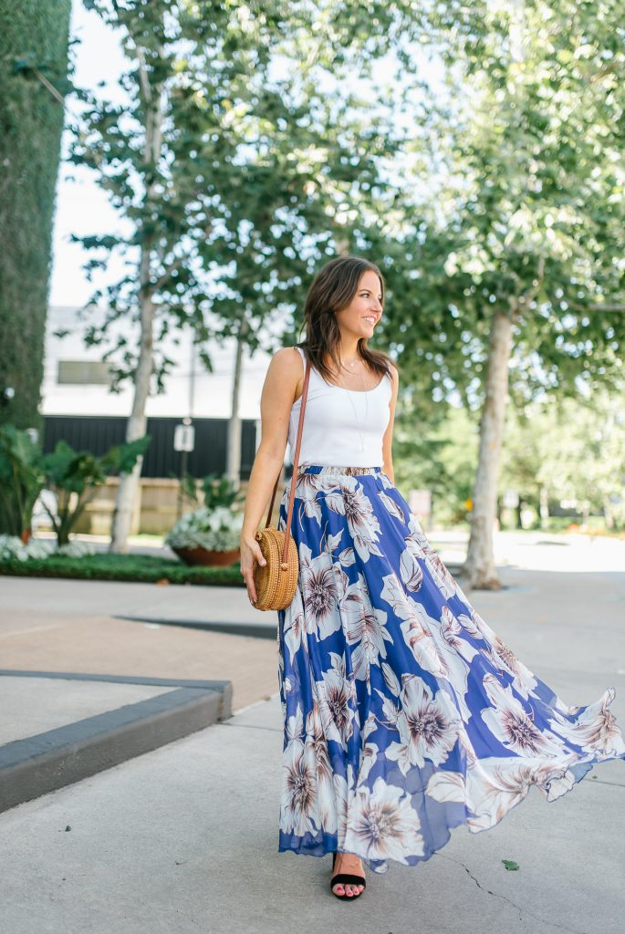 summer fashion | blue chiffon maxi skirt | tank top | Houston Fashion Blogger Lady in Violet
