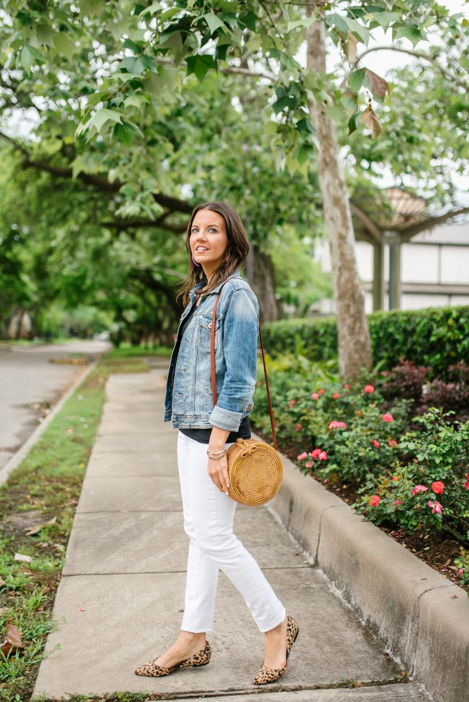 summer outfit | circle straw bag | white denim | Houston Fashion Blogger Lady in Violet