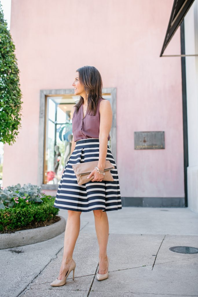 summer work wear | sleeveless blouse | striped flared skirt | Houston Fashion Blogger Lady in Violet