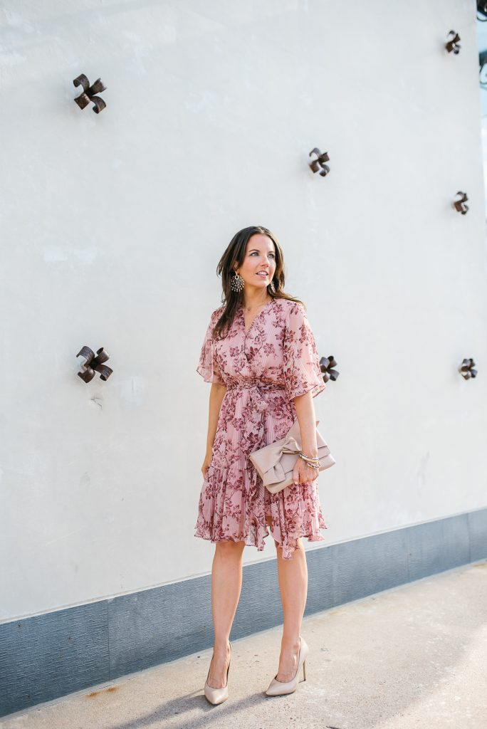 work outfit | pastel pink floral dress | nude colored clutch | Petite Fashion Blogger Lady in Violet
