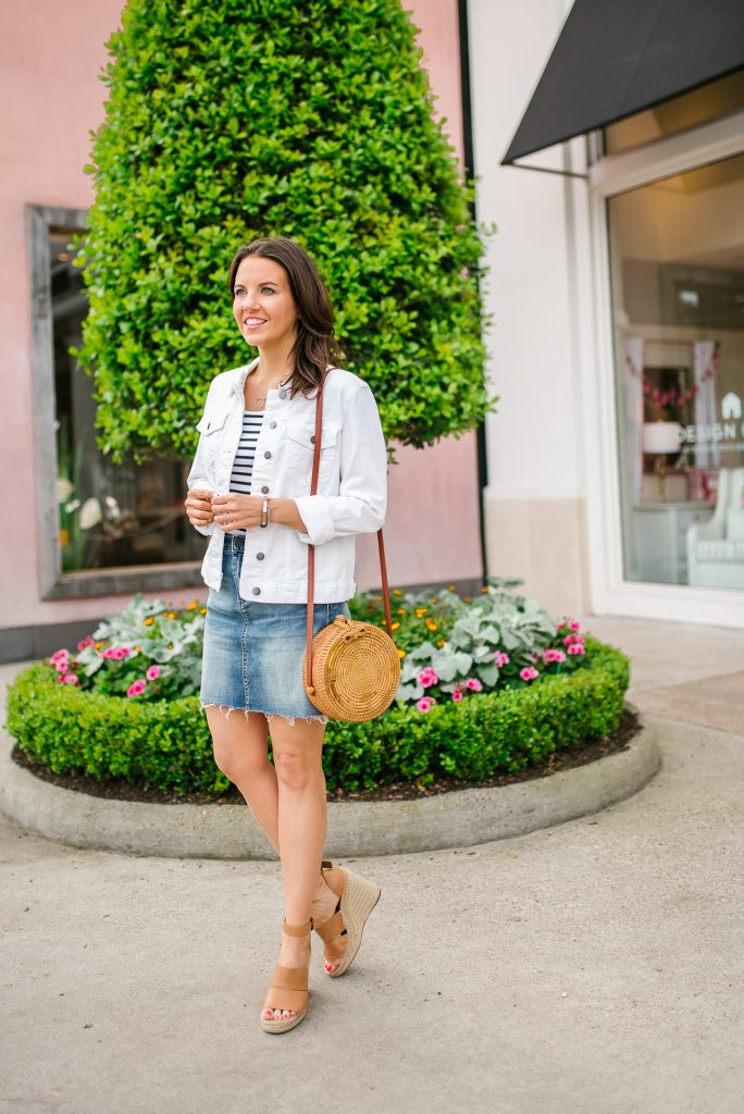 casual summer outfit | white denim jacket | blue jean skirt | Petite Fashion Blogger Lady in Violet