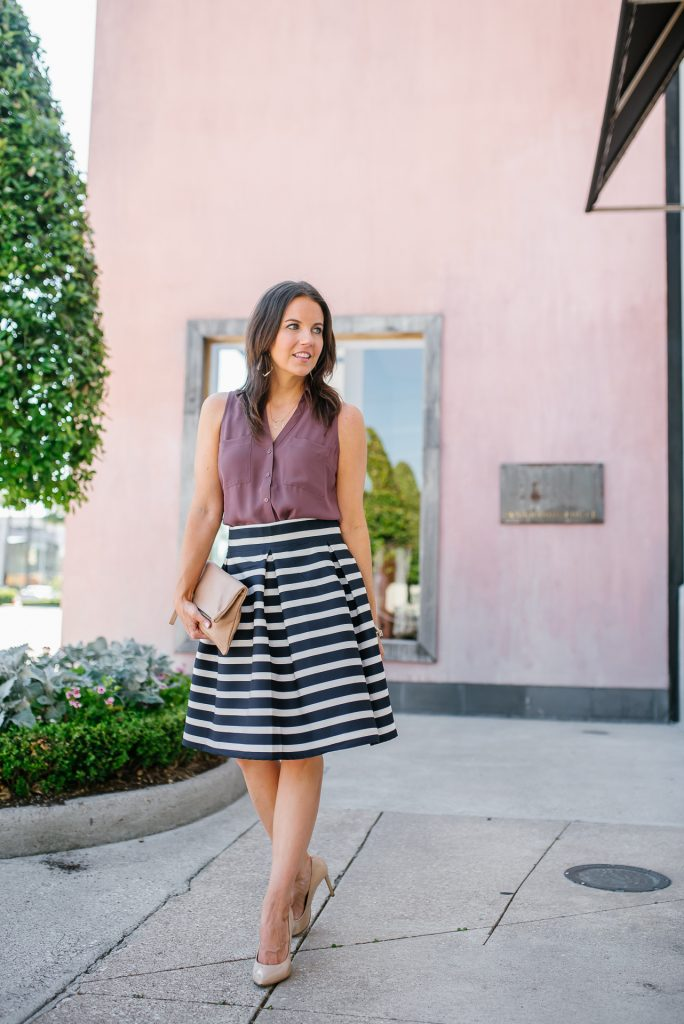 Spring work wear | rose pink sleeveless blouse | navy striped skirt | Petite Fashion Blogger Lady in Violet