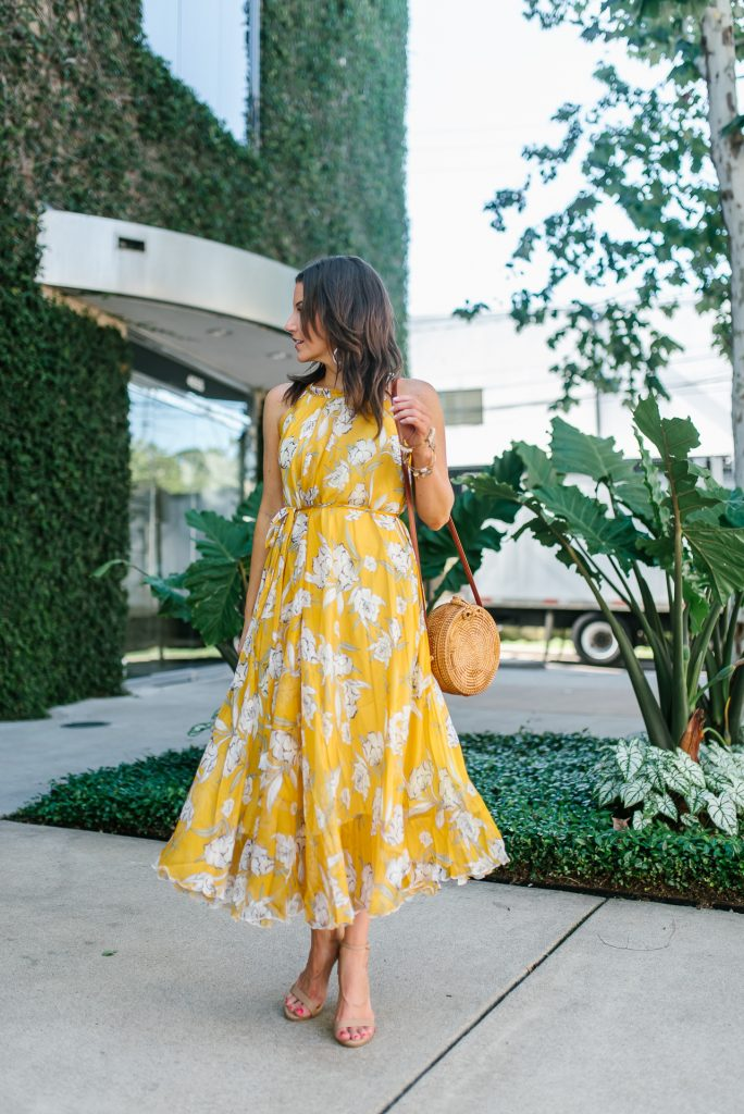Summer outfit | yellow floral dress for wedding guest | Affordable Fashion Blogger Lady in Violet