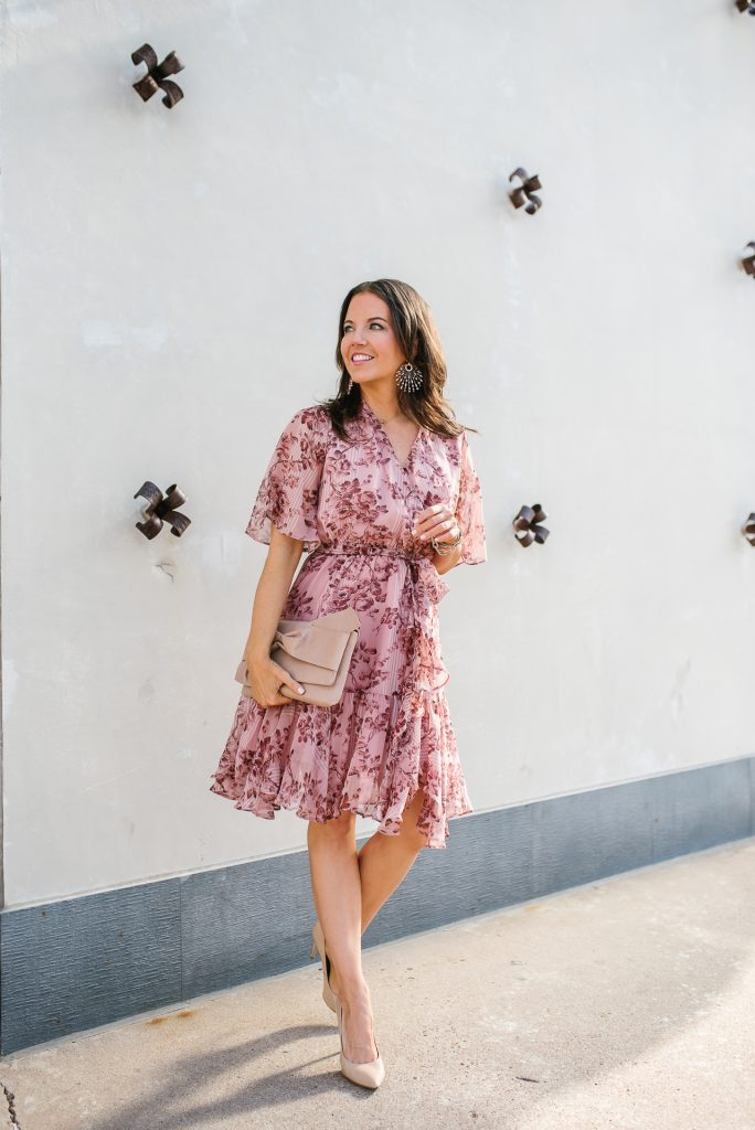summer style | pink floral dress | rose gold jewelry | Petite Fashion Blogger Lady in Violet