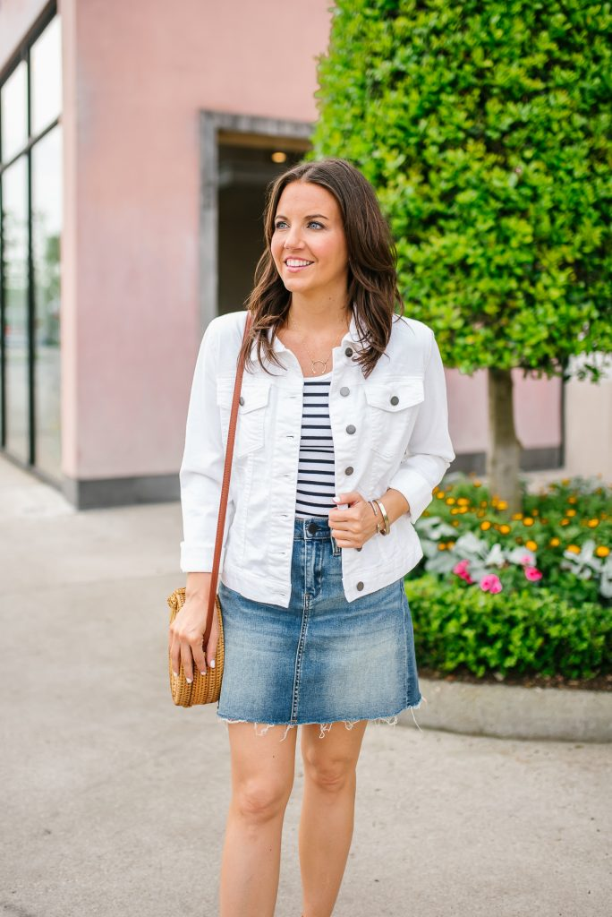 layered summer outfit | white jean jacket | striped tank top | Petite Fashion Blogger Lady in Violet