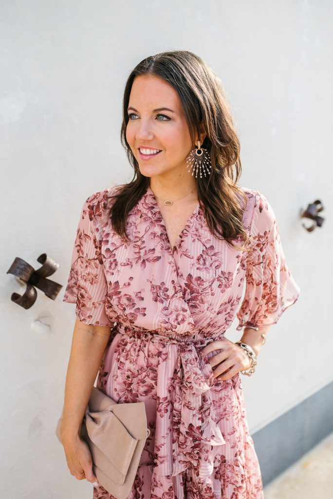 spring style | pink floral tie waist dress | kendra scott earrings | Houston Fashion Blogger Lady in Violet