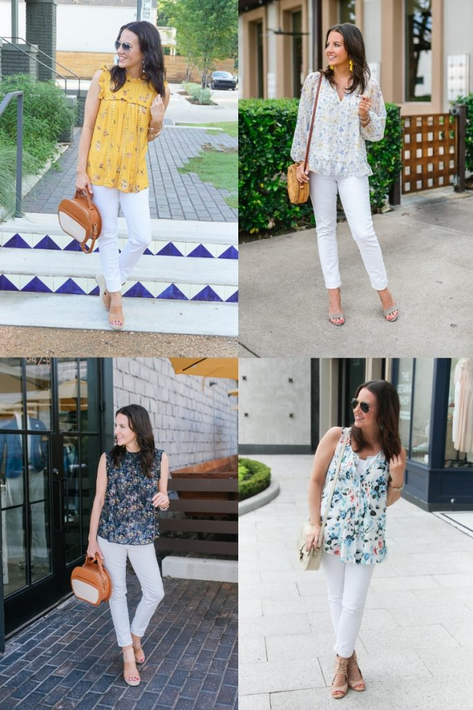 floral tops with white jeans | Casual Outfits | Houston Fashion Blogger Lady in Violet