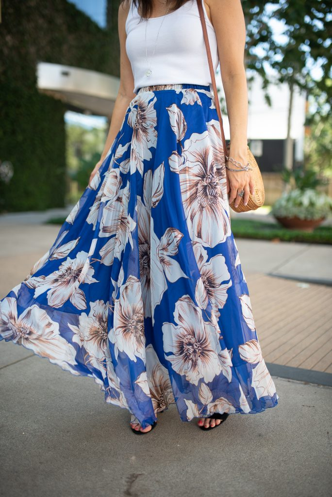 Brunch outfit | blue maxi skirt | circle straw bag | Petite Fashion Blogger Lady in Violet
