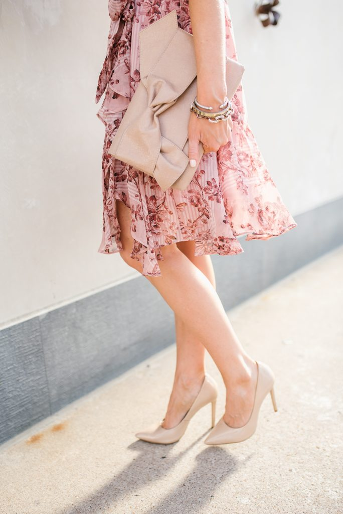 Petite fashion | pink rose dress | nude colored heels | Houston Fashion Blogger Lady in Violet