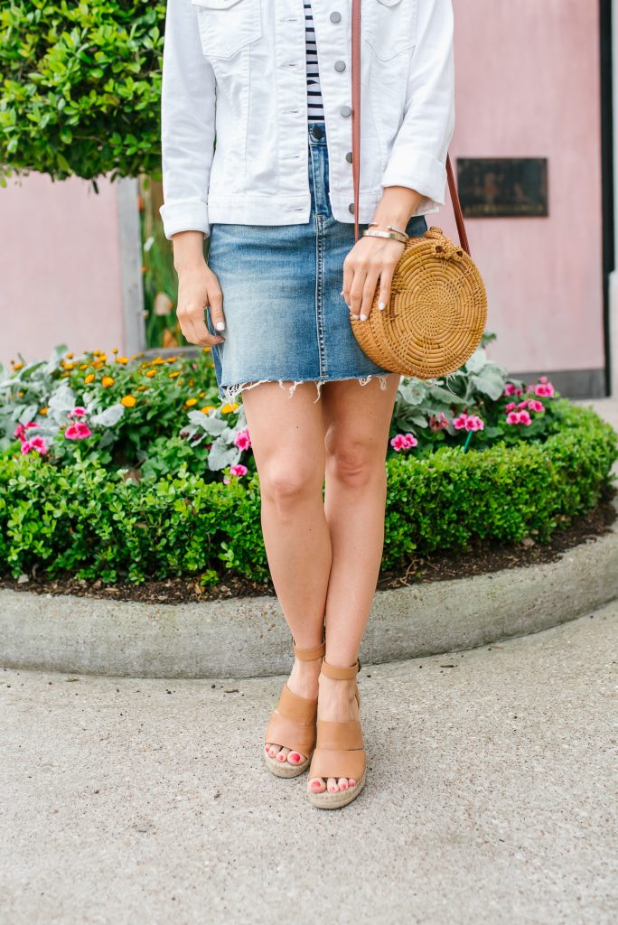spring outfit | jean jacket | distressed hem skirt | Affordable Fashion Blogger Lady in Violet