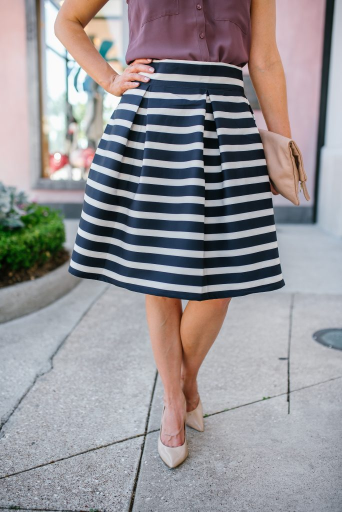 Work outfit | striped a-line skirt | nude colored heels | Petite Fashion Blogger Lady in Violet