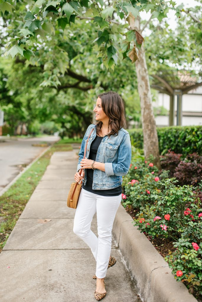 casual summer outfit | blue jean jacket | leopard flats | Petite Fashion Blogger Lady in Violet