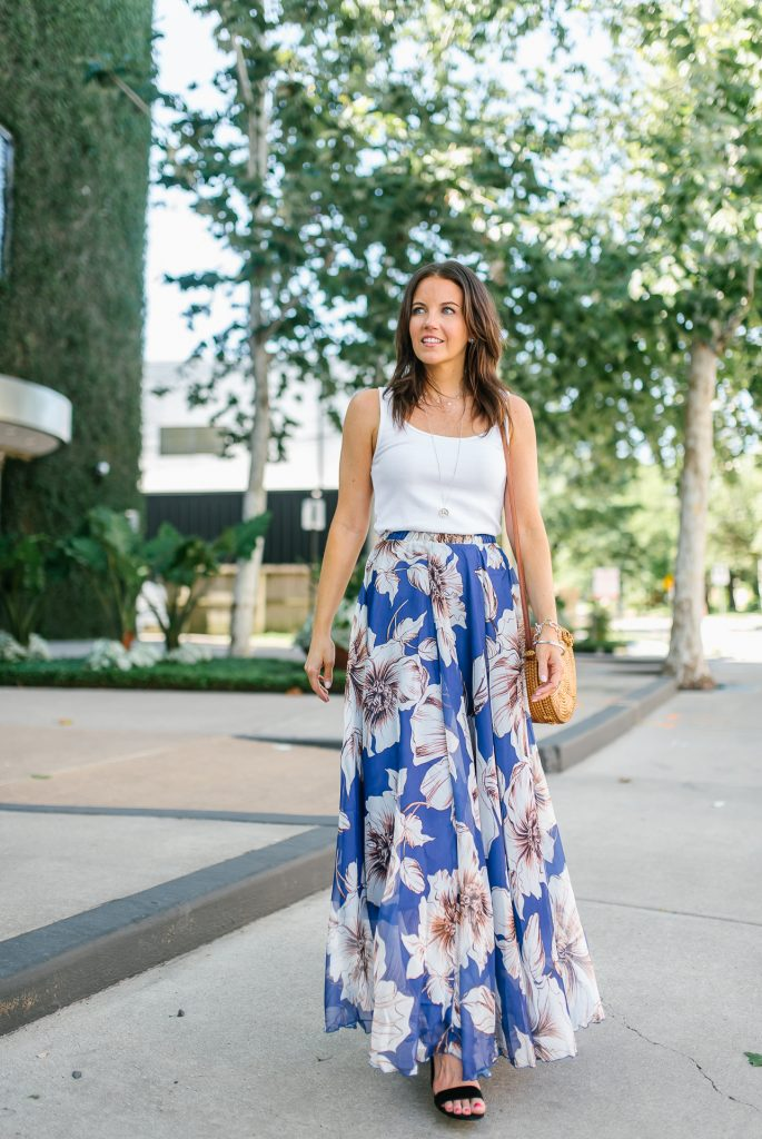 summer outfit | blue maxi skirt | white tank top | Houston Fashion Blogger Lady in Violet