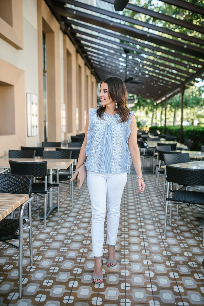 Summer outfit | blue white striped top | thick white skinny jeans | Petite Fashion Blogger Lady in Violet