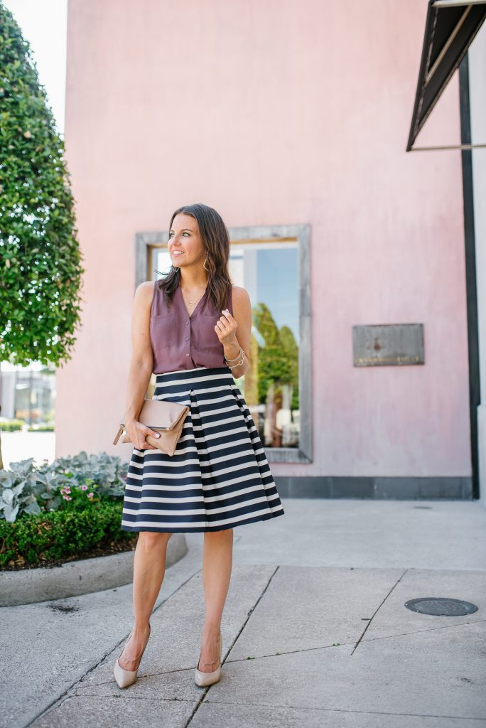 summer outfit | pink sleeveless button up blouse | striped skirt | Affordable Fashion Blogger Lady in Violet