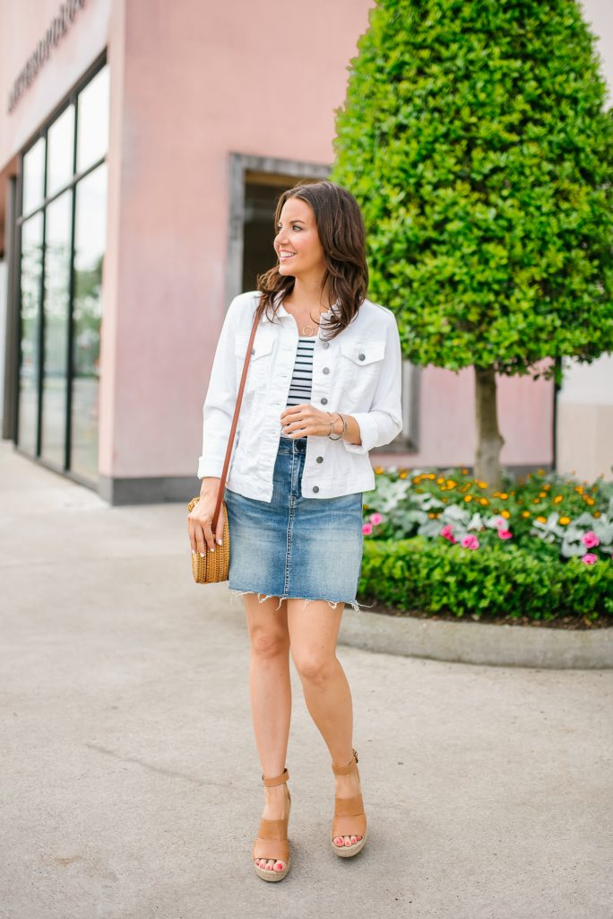 summer outfits | striped tank top | denim skirt | Affordable Petite Fashion Blogger Lady in Violet