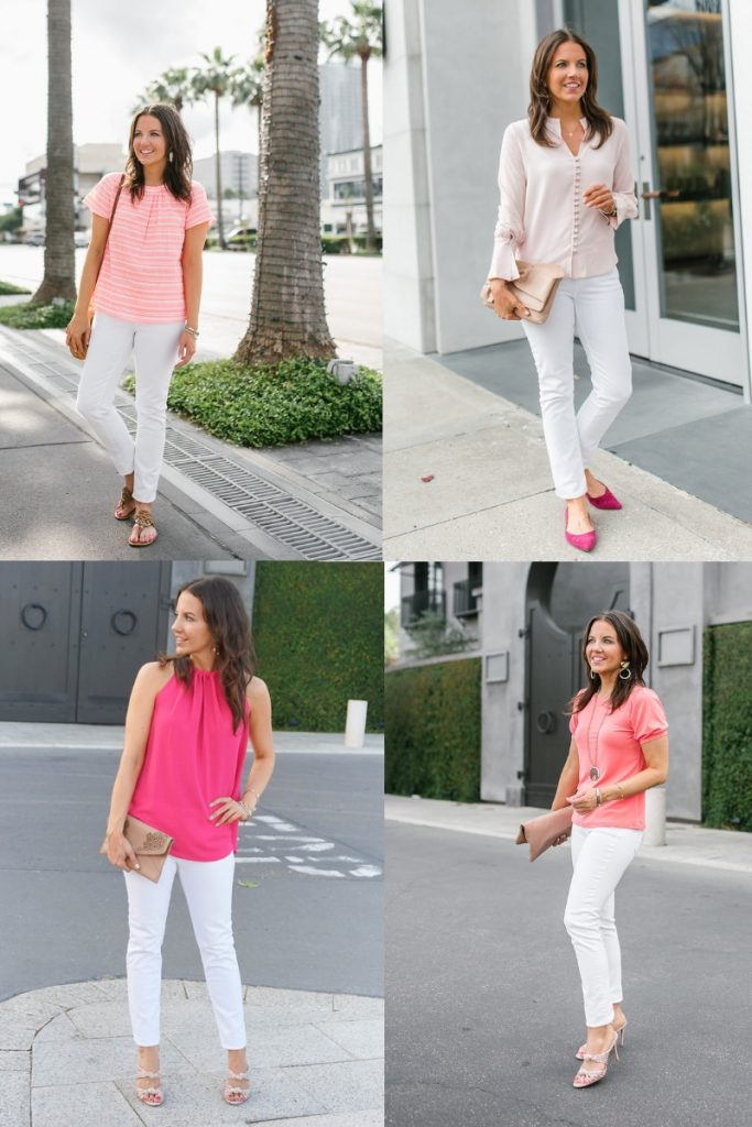 pink tops with white skinny jeans | casual outfits | Petite Fashion Blogger Lady in Violet