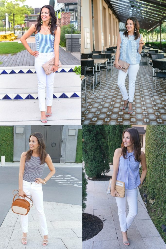 summer outfits | blue striped tops with white jeans | Affordable Fashion Blogger Lady in Violet