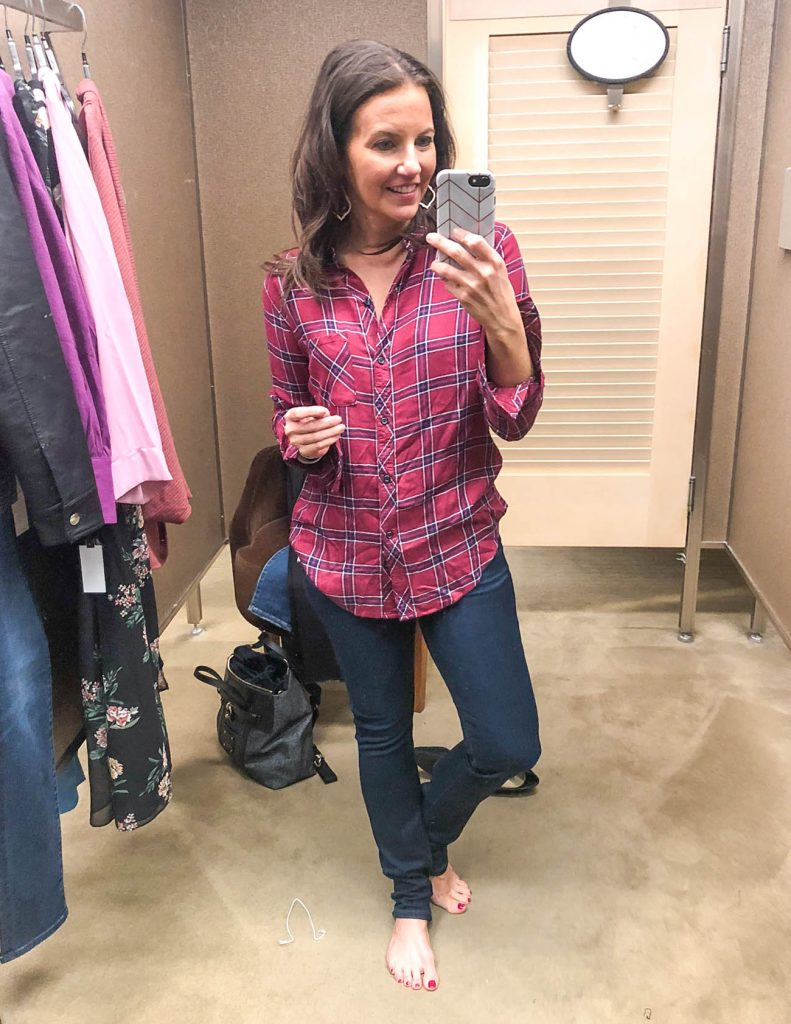 fall outfit | rails plaid blouse | dark wash jeans | Houston Fashion Blogger Lady in Violet