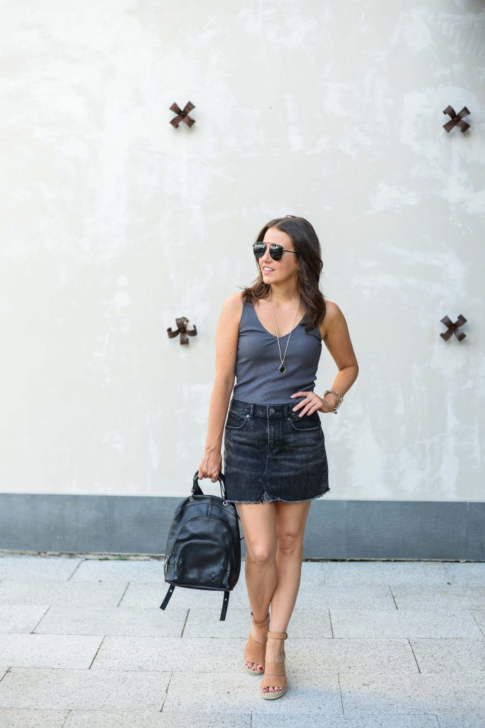 summer outfit | gray tank top | black denim skirt | Petite Fashion Blogger Lady in Violet