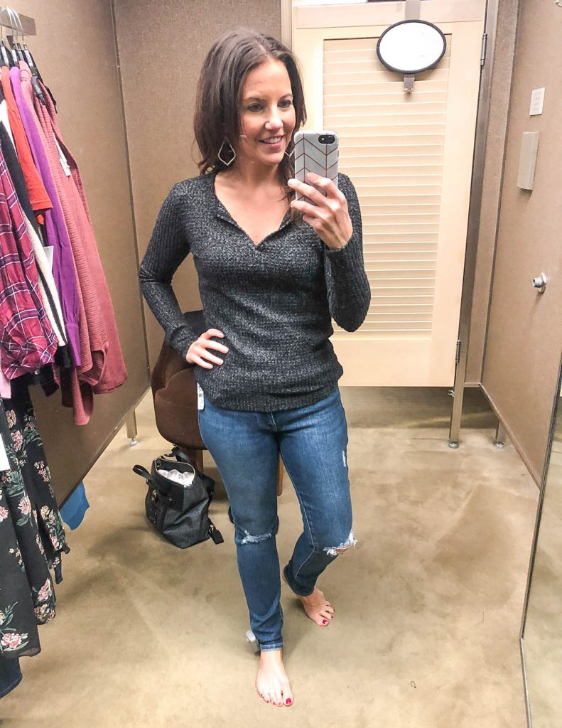 casual outfit | dark gray thermal henley | distressed jeans | Petite Fashion Blogger Lady in Violet