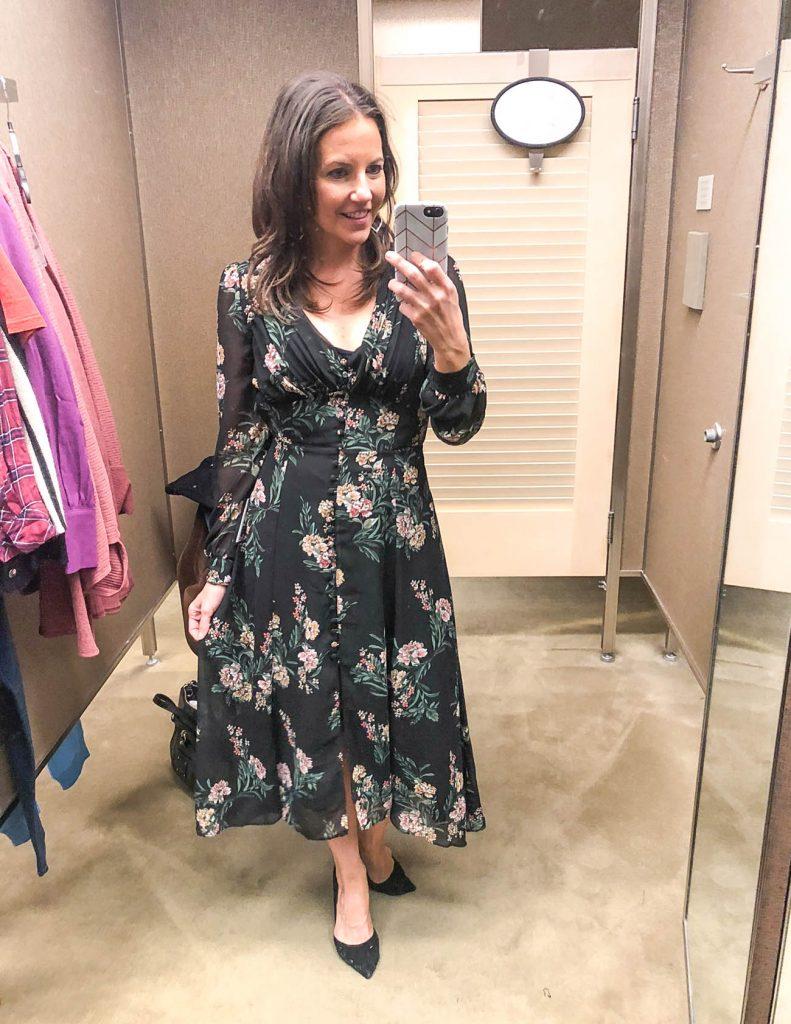 fall work wear | long sleeve black floral print midi dress | Houston Fashion Blogger Lady in Violet