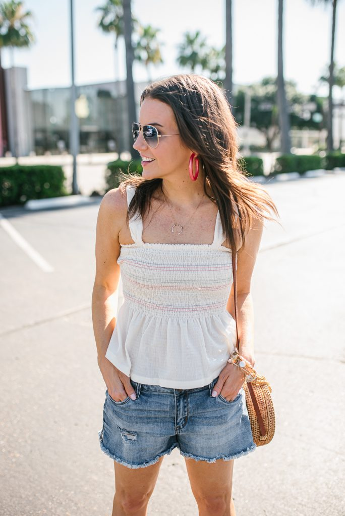summer festival outfit | smocked tank top | cut off jean shorts | Houston Fashion Blogger Lady in Violet