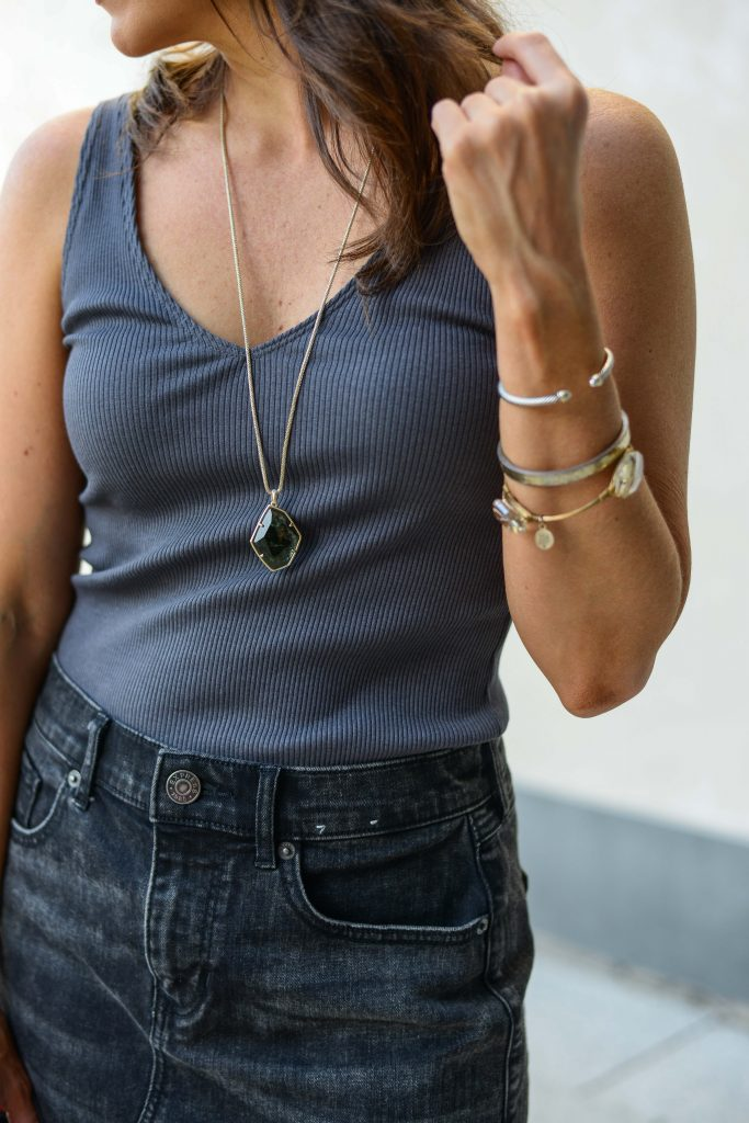 casual outfit | green stone pendant necklace | three arm bracelet stack | Texas Fashion Blogger Lady in Violet