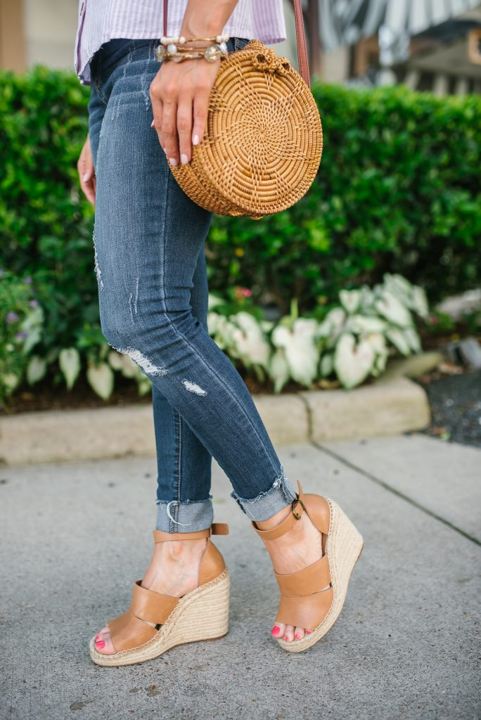 casual summer outfit | distressed jeans | brown wedge sandals | Affordable Fashion Blogger Lady in Violet