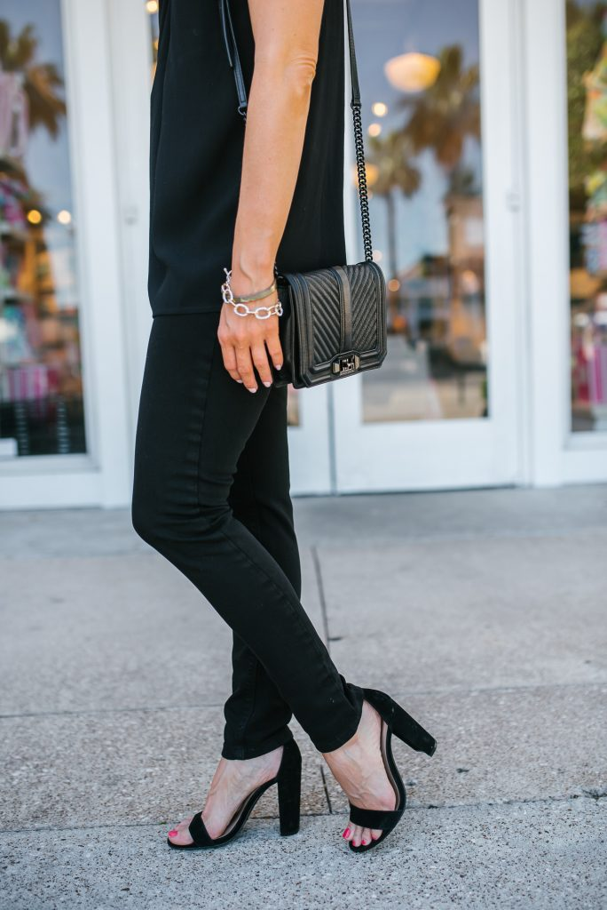 going out outfit | black skinny jeans | block heel sandals | Affordable Fashion Blogger Lady in Violet