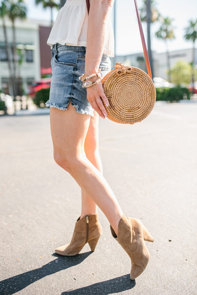 outdoor concert outfit | brown western booties | circle straw crossbody bag | Affordable Fashion Blogger Lady in Violet