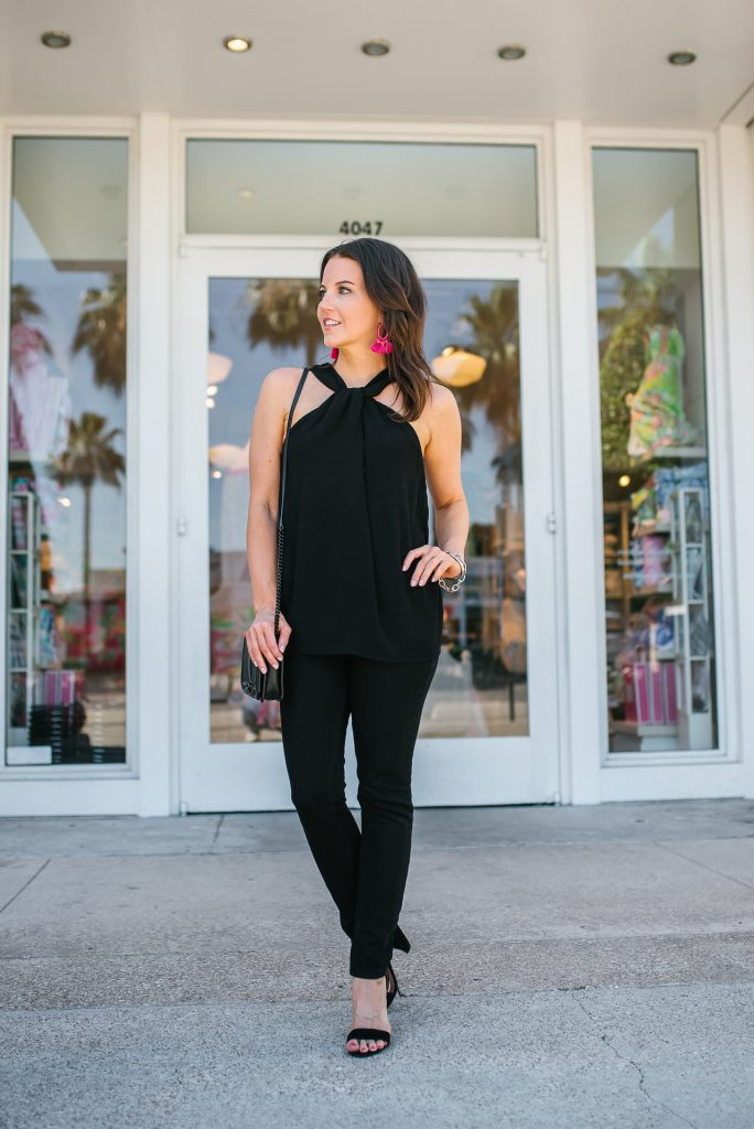 chic all black outfit | halter top | skinny jeans | Petite Fashion Blogger Lady in Violet