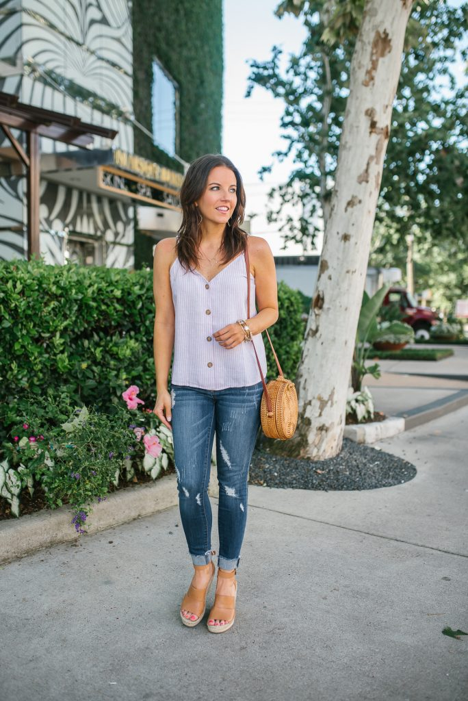 summer outfit | button front top | distressed jeans | Houston Fashion Blogger Lady in Violet