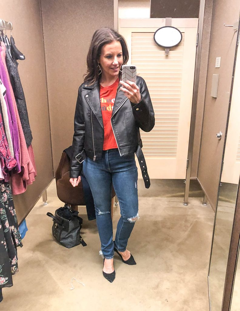 Trendy fall outfit | graphic tee | leather moto jacket | Petite Fashion Blogger Lady in Violet
