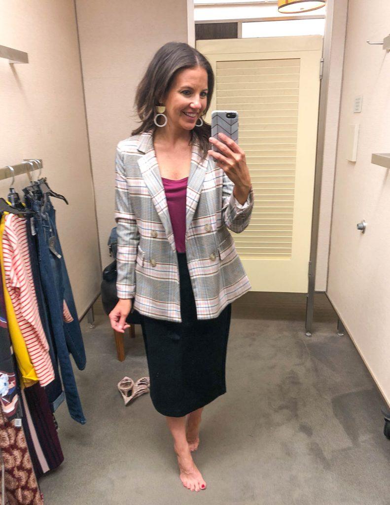 professional office outfit | plaid blazer black midi pencil skirt | Houston Fashion Blogger Lady in Violet
