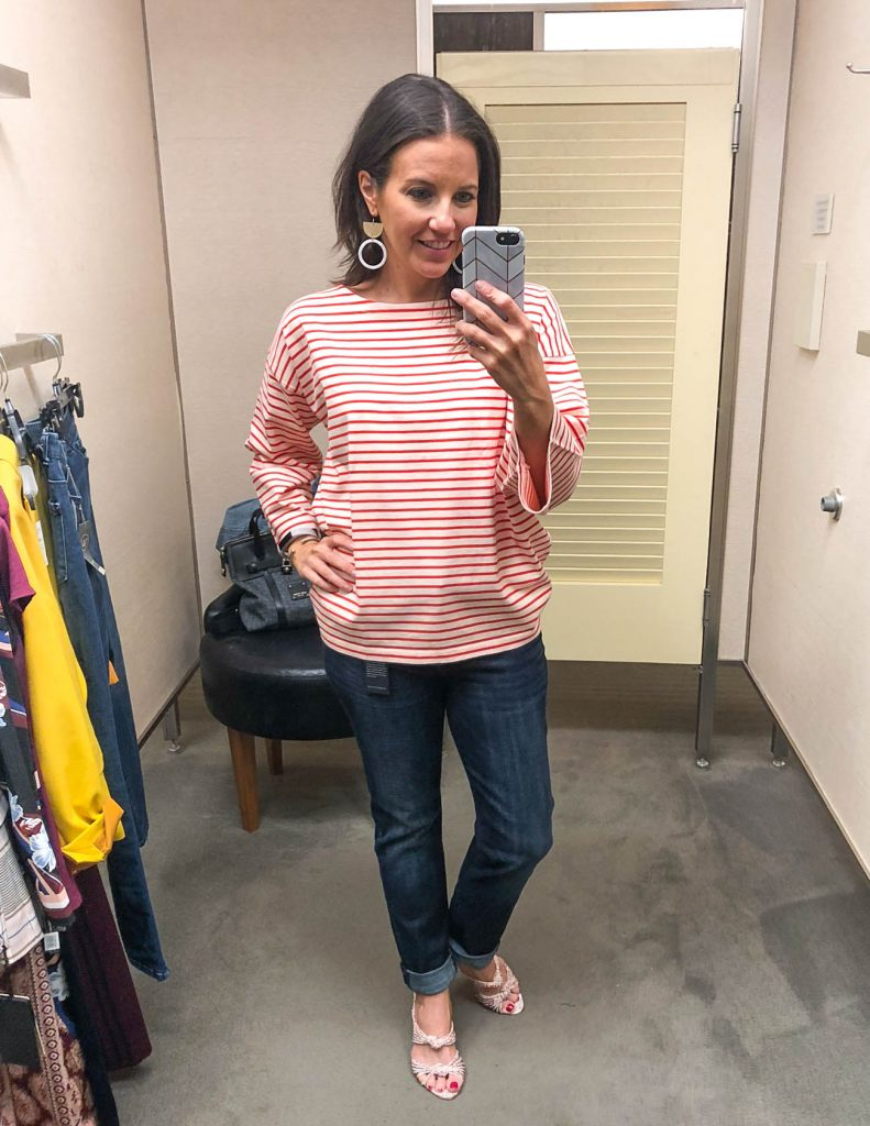 casual outfit | red striped top | boyfriend jeans | Fashion Blogger Lady in Violet