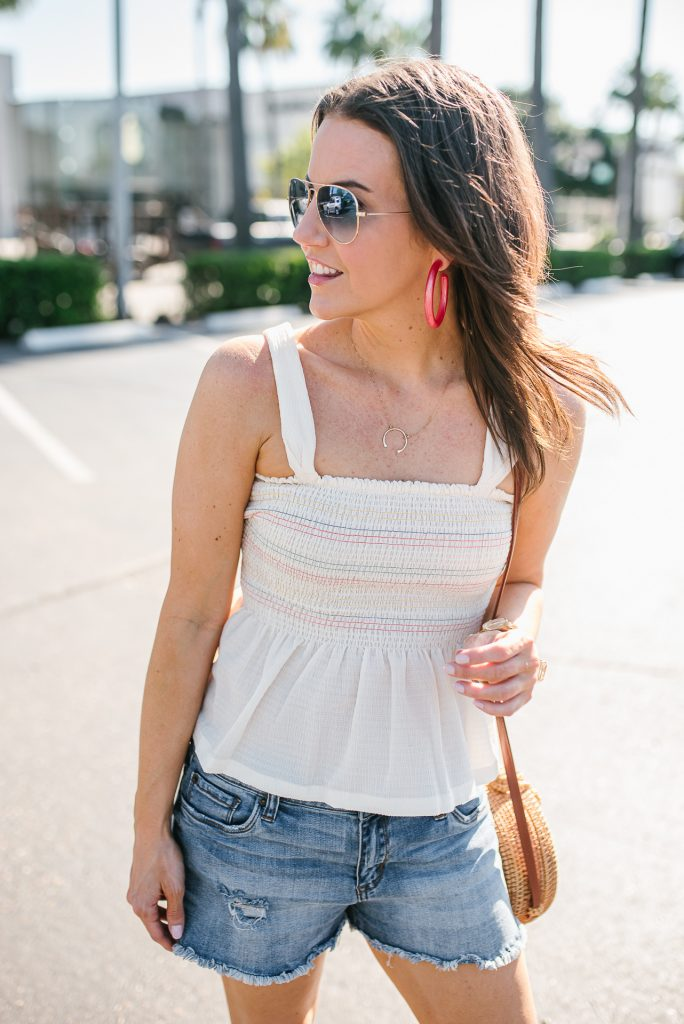casual outfit | smocked top | pink hoop earrings | Budget Friendly Fashion Blogger Lady in Violet
