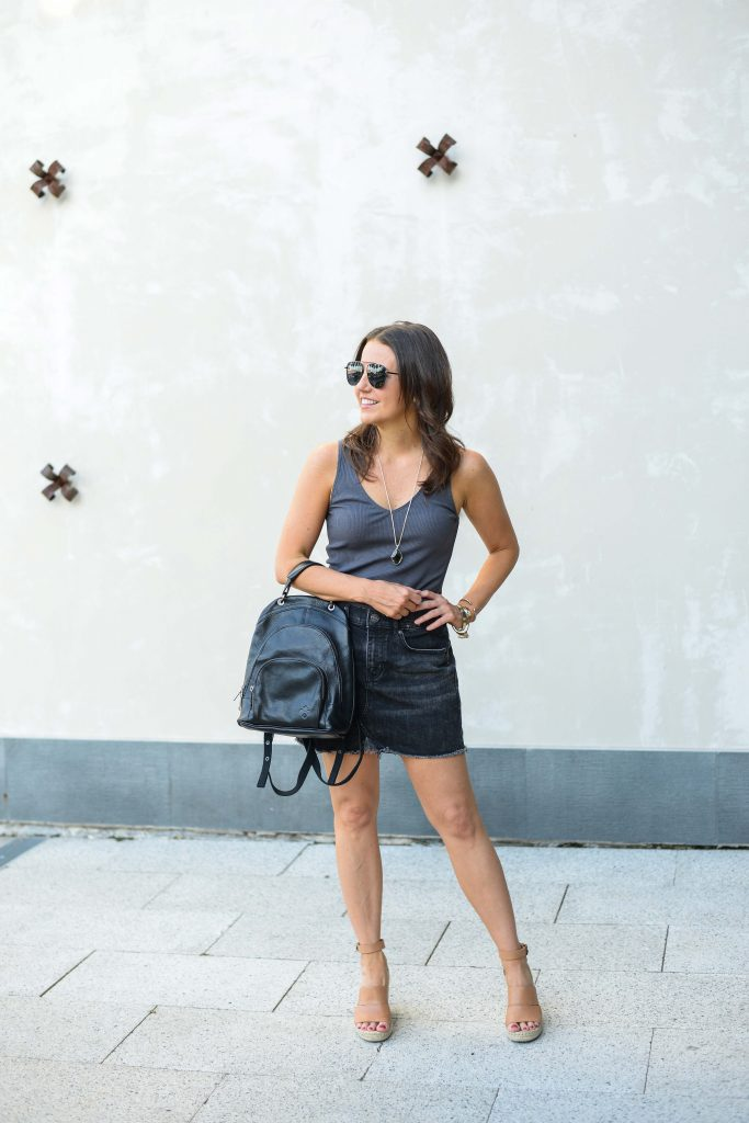 Summer casual outfit | black jean mini skirt | leather backpack purse | Budget Friendly Fashion Blogger Lady in Violet