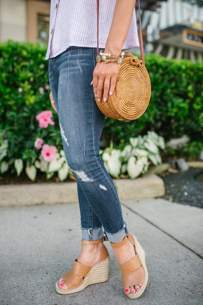 casual spring outfit | circle straw bag | cuffed distressed denim | Houston Fashion Blogger Lady in Violet