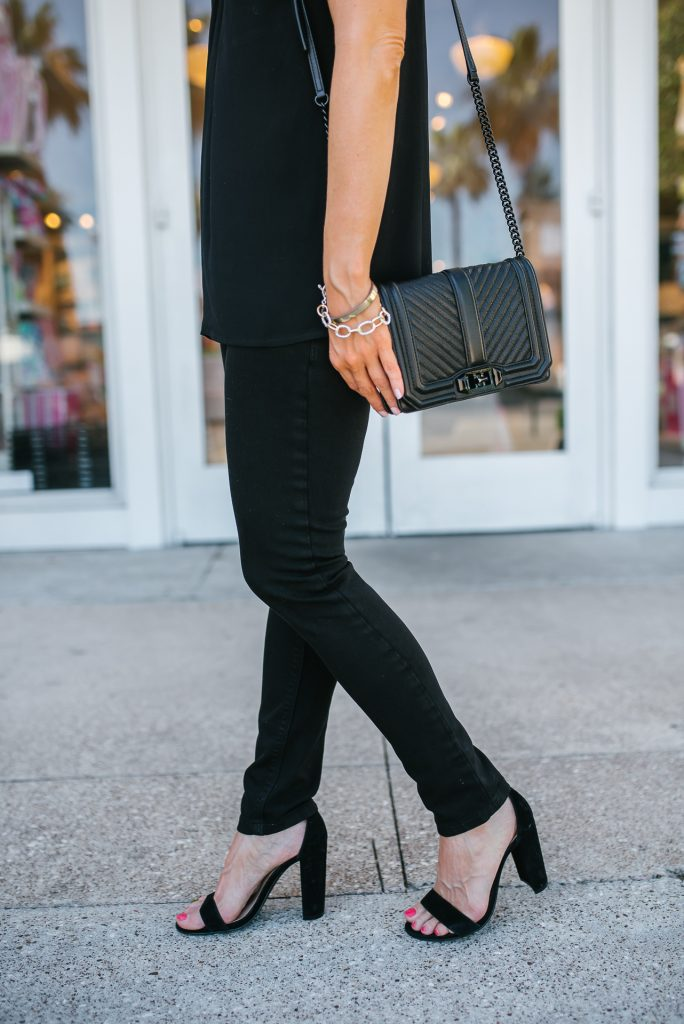 night out look | black skinny jeans | block heel sandals | Petite Fashion Blogger Lady in Violet