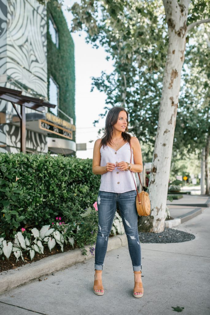 casual summer outfit | button front camisole top | distressed denim | Petite Fashion Blogger Lady in Violet