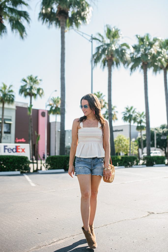 summer festival outfit | smocked peplum top | cut off jean shorts | Texas Fashion Blogger Lady in Violet