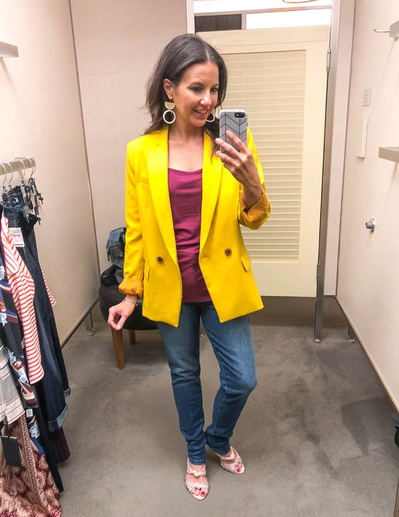 fall outfit | yellow blazer | high waist jeans | Houston Fashion Blogger Lady in Violet